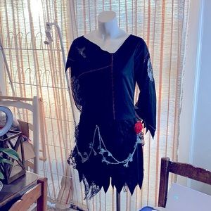 🎃Happy Halloween👻Black Lacey Dress Sexy Witch®️Pirate Costume🏴☠️ ahrrr